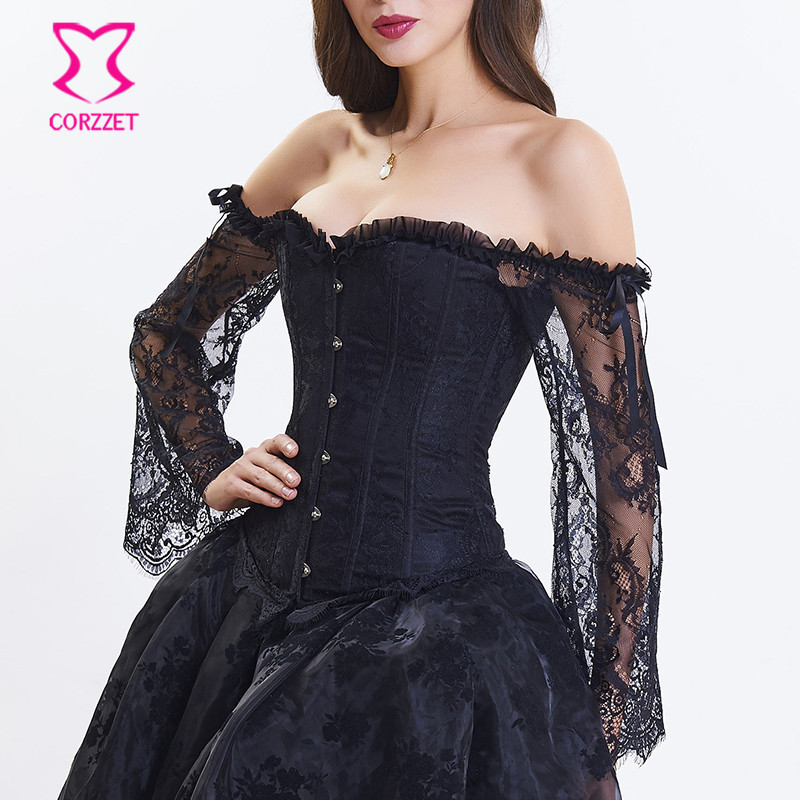 Corzzet Black Jacquard Lace Long Flare Sleeve Sexy Gothic Overbust   Corsets   And   Bustiers   Body Shaper Steampunk Bridal   Corset