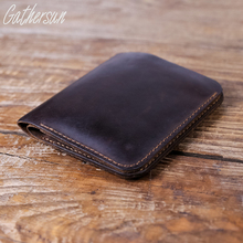 Gathersun Brand Handmade High Quality Men Genuine Crazy Horse Leather wallets Short Bifold Vintage Card Holder Purse Carteira