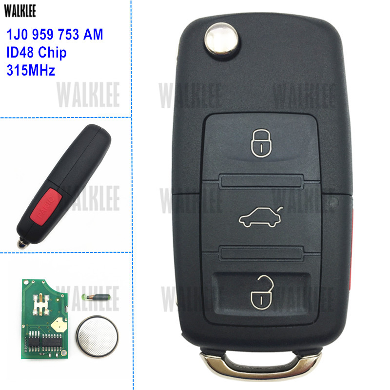 WALKLEE 1J0959753AM Car Remote Key 315MHz for VW/VOLKSWAGEN Beetle Golf Passat Jetta 1J0 959 753 AM with ID48 ChipWALKLEE 1J0959753AM Car Remote Key 315MHz for VW/VOLKSWAGEN Beetle Golf Passat Jetta 1J0 959 753 AM with ID48 Chip