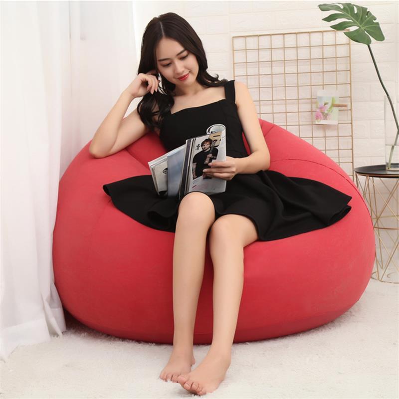 Flocking PVC Inflatable Lazy Football Sofa Chair Leisure Rest Small Apartment Home Living Room Balcony Single Bean Bag Sofa