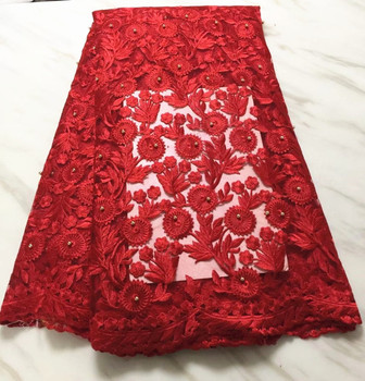5 Yards/pc Gorgeous red flower embroidery french net lace with beads for african mesh lace fabric for dress BN92-3