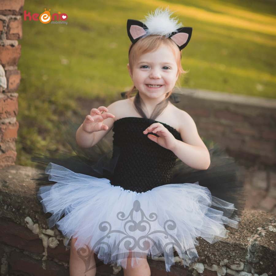 Black White Panda Bear Girls Tutu Dress Baby Halloween Cosplay Costume Children Fancy Holiday Pageant Ball Gown