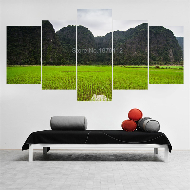 At The Foot Of The Mountain Green Rice Fields Nature Scenery Paintings 5 Pc Canvas Wall Art Printed Pictures For Home Decoration