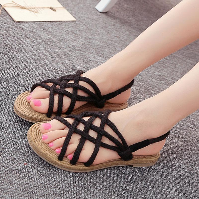 Hot Women Sandals Hemp Rope Handmade Weave Cross-Strap Cross-tied Flat With Solid Shoes 2017 Summer Casual Sandals Woman Shoes