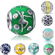 Аутентичные стерлингового серебра 925 Талисманы ювелирные эмали Бусины подходят оригинальный Pandora браслет DIY Ювелирные украшения для Для женщин Подарки