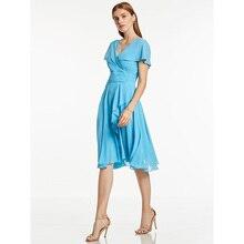 Dressv голубое коктейльное платье с v-образным вырезом, без рукавов, длиной до колена, с оборками, ТРАПЕЦИЕВИДНОЕ ПЛАТЬЕ для девушек, Короткие коктейльные платья