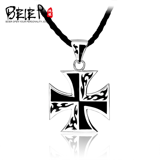 Beier Silver Necklace Male 925 Pure Silver Male Pendant World War Iron Cross Pendant Gothic A1076