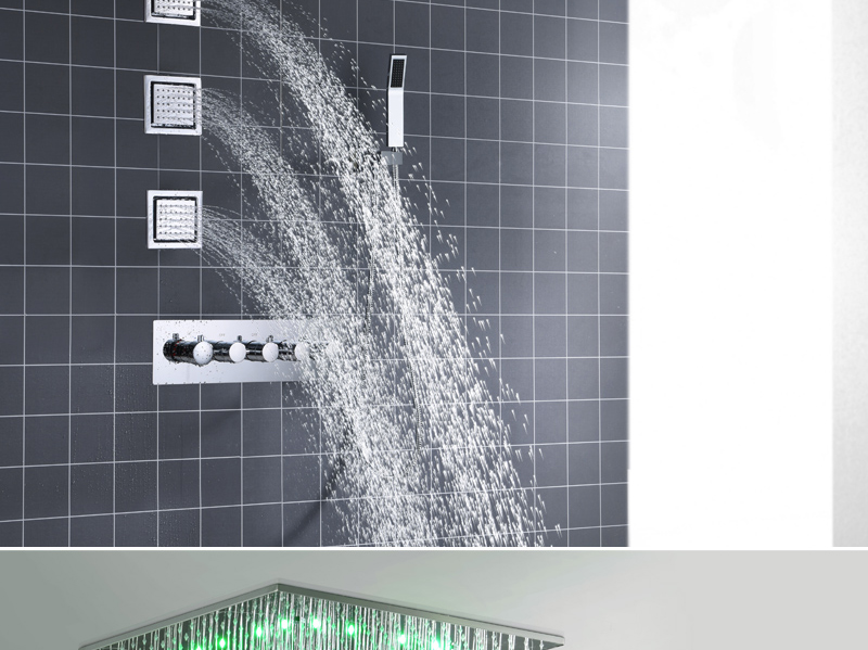 hm Rain And Mist LED Ceiling Shower Fauct Tap 20 Inch Tempetatures Change Bathroom Shower Kit 3 Pcs Body JetsMixer Shower (13)