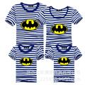 2015 New Family Look Batman T Shirts Striped Summer Style Family Matching Clothes Father & Mother & Kids Cartoon Outfits C30