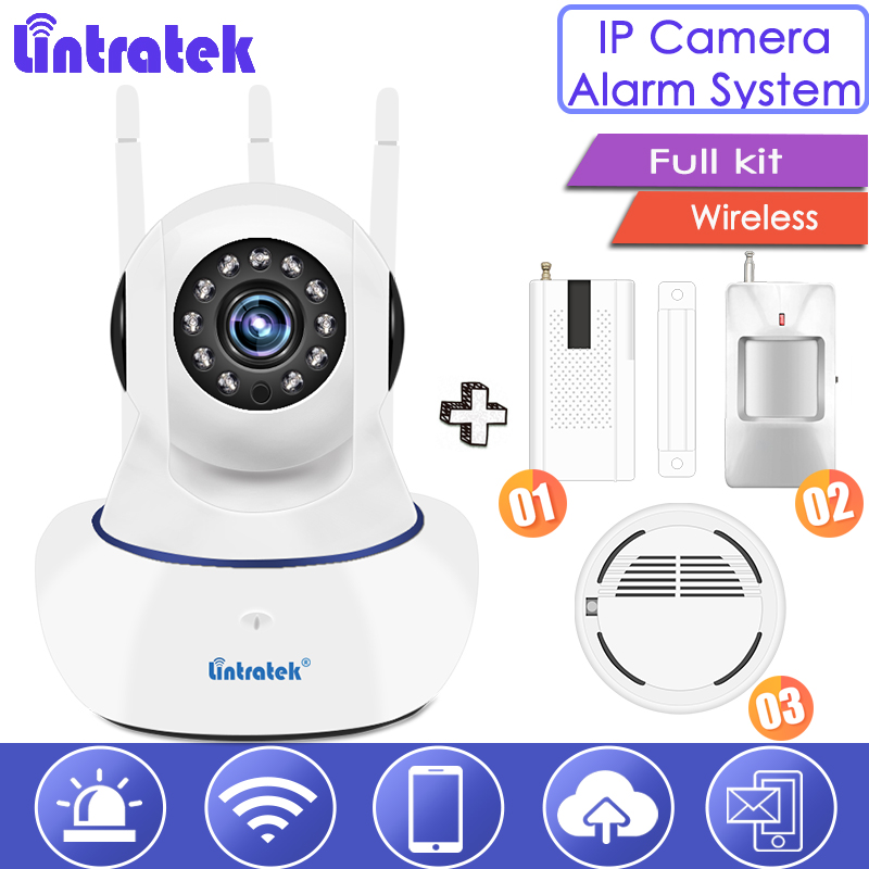 Lintratek Wireless IP Camera full kit with WiFi Alarm Systems Security Camera for Home Motion Sensor Infrared Detector cctv S28