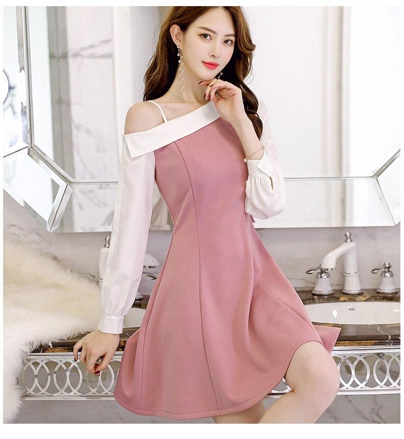 Spring Summer dress Korean women clothing Office Lady Long sleeve dress fashion Asymmetrical neck dress High waist Vestidos 2