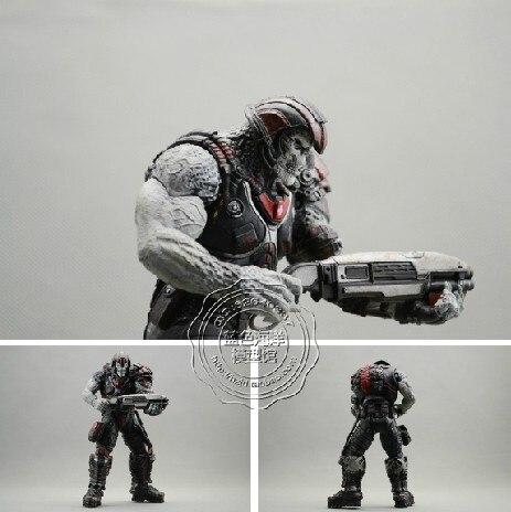 Бесплатная доставка NECA подлинной gears of war 3 Орк модель с оружием подвижный Кукла 7 дюйм(ов) высокой 18 СМ оптом