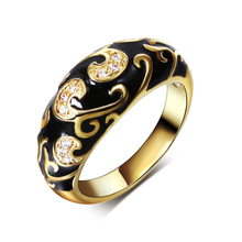 DC1989 New Bohemia Fashion Engagement Ring for women Gold Plated Black Epoxy Synthetic White Cubic Zirconia Size 5 to 10 bague