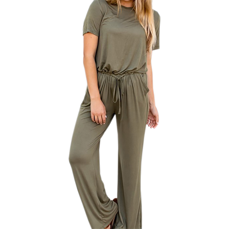 Pockets Drawstring Loose Casual Long Playsuit Wide Leg Pants Macacao Female Plus Size Overalls Women Wine Red Jumpsuits PL854G