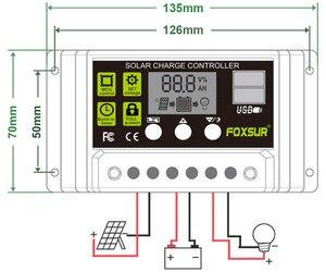 Image 5 - FOXSUR Năng Lượng Mặt Trời Charge Controller 12 V 24 V Auto LCD Hiển Thị với kép USB 5 V Đầu Ra 30A 20A 10A PWM Solar Charger điều chỉnh