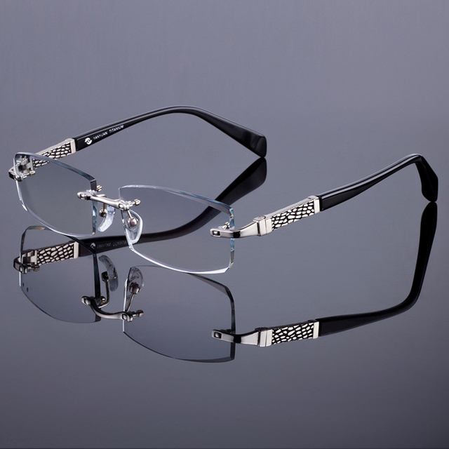 New Men Business Rimless Frame Women Titanium Alloy Optical Frame Diamond Trimming Cut Rimless Glasses With Gradient Tint Lenses