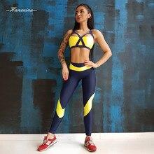 Hancuinu 2 Piece Set Women Fitness Leggings+ Cross Strap Halter Padded Bras Sexy Hit Color Sportswear Crop Top Push Up Leggings