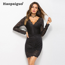 M-XXL Larger Size Black Lace Women Dress Autumn 2019 Deep V-neck Mini Dress Club Wear for Ladies Party Dress Vestidos Verano платье для тенниса asics w club dress цвет розовый синий 141173 0688 размер m 46 48
