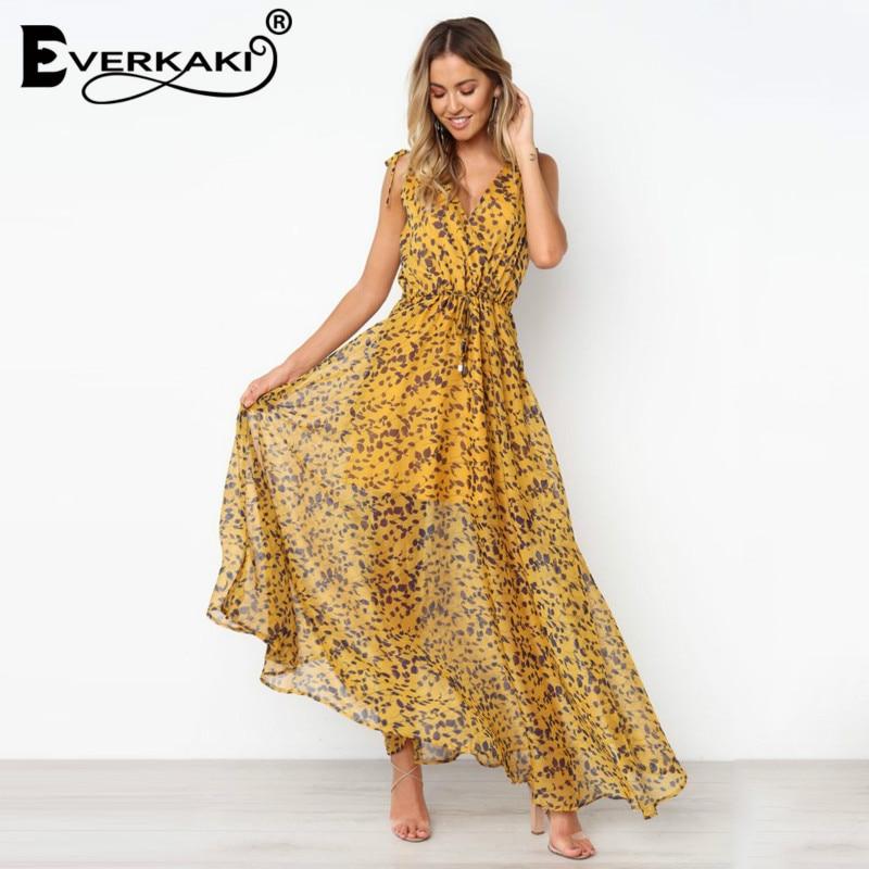 Everkaki Women Summer Leaf Leopard Long Dress Ladies Spaghetti Strap Deep V Empire Maxi Dresses Party Beach Vestidos with Lining