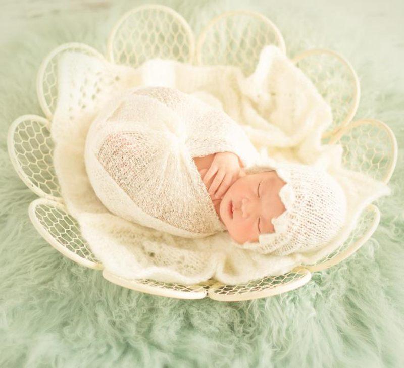 Chic nouveau-né panier bébé nid accessoires de photographie, haute qualité fer bébé sièges motif de fleurs, bébé posant Prop, # P0282