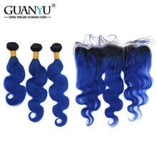 Guanyuhair Ombre   1B Blu 3 Bundle Con 13x4 Veletta frontale Chiusura  Orecchio a Orecchio Peruviana Umani di Remy dell onda Del . d6d3d10f8d3a
