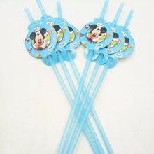 8fd4c0d70 6 unids/bolsa fiesta Mickey Mouse Pajitas niños cumpleaños decoración baby  shower para niños Niños suministros fiesta de cumplea.