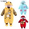 V-TREE macacão de bebê inverno engrossar quente algodão roupas de bebê bebê roupas meninos pijamas do bebê das meninas do menino roupas de bebe