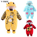 V-TREE winter baby rompers thicken warm cotton baby clothing baby boy girls bebe clothes roupas meninos baby pajamas