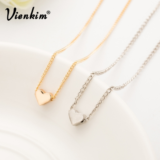 adca8a6cd4c Vienkim 2019 New Hot Trendy Tiny Heart Short Pendant Necklace Women Gold  Chain Lover Lady Girl Gifts Bijoux Fashion Jewelry