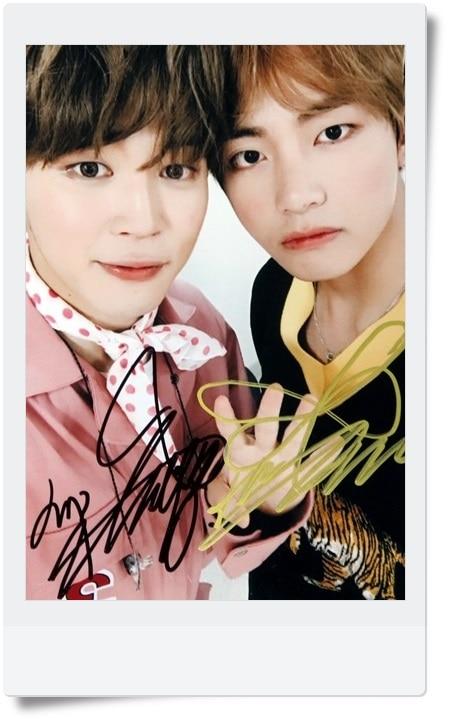 Signed BTS JIMIN V Autographed  group photo  4*6 free shipping  K-POP 062017
