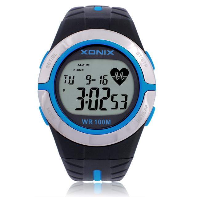 Das Mulheres Dos Homens Relógios Esportes Relógio da Frequência Cardíaca De Calorias Xonix HRM Cuidados de Saúde BMI Corrida Unisex Swim Mergulho relógio de Pulso À Prova D' Água 100 m