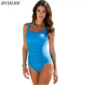 Women Swimwear Black Plus Size Blue Bodysuit One Piece Swimsuit 2018