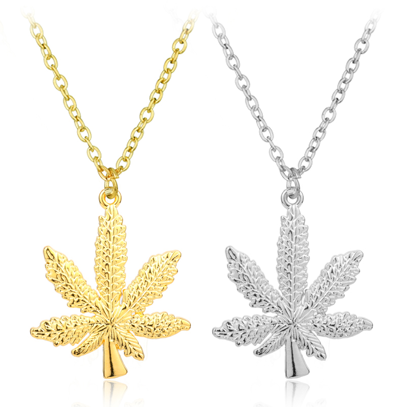 MQCHUN New Gold Silver Color <font><b>Cannabiss</b></font> Small Weed Herb Charm <font><b>Necklace</b></font> Maple Leaf Pendant <font><b>Necklace</b></font> Hip Hop Jewelry Wholesale image