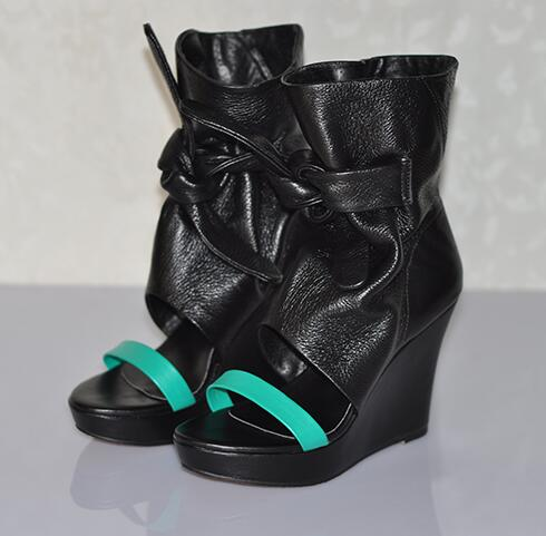 Frauen Damen Offene Green Sandalen Plattform Fashion Glatt Schuhe Up Kleid Keilabsatz Lace Leder Schwarz Band Ankle Spitze wxgEdEIv