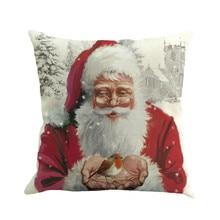 НОВАЯ РОЖДЕСТВЕНСКАЯ Праздничная Подушка с принтом Санта Клауса, окрашенная диванная кровать, домашний декор, наволочка для подушки в спальню, Рождественская наволочка N082
