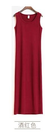 Новое поступление, весенне-летнее однотонное хлопковое повседневное длинное платье без рукавов, женское приталенное платье в пол с круглым вырезом, женское платье-жилет - Цвет: wine red
