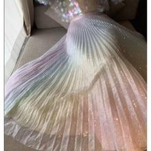 цена Women TUTU High Waist Mesh Midi Pleated Gauze Sequin Elegant Skirt Female Casual Fashion Gradient Rainbow Skirt Runway 2019 SS в интернет-магазинах