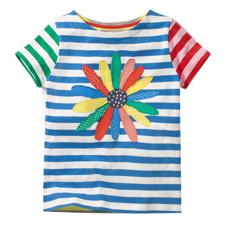 Girls Summer Tops Baby Clothes 2018 Brand Kids Tee Shirt Enfant Fille Striped Girls T-shirts Children Clothing Princess Costume