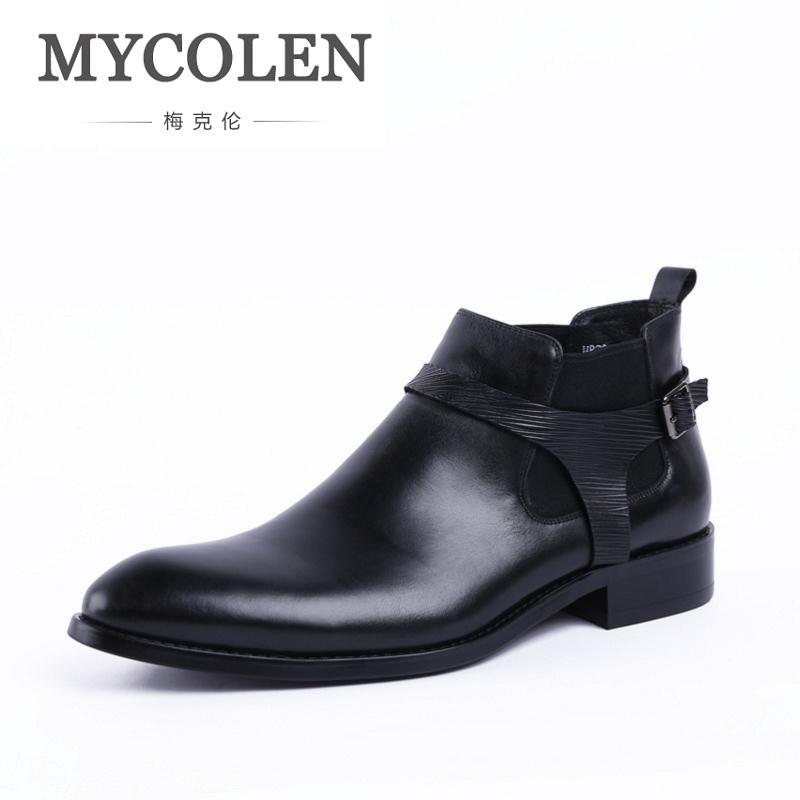MYCOLEN Spring Autumn Classical Leather Chelsea Boots For Men Fashion Ankle High Boots Men's All Match Business Shoes designing gestural interfaces touchscreens and interactive devices