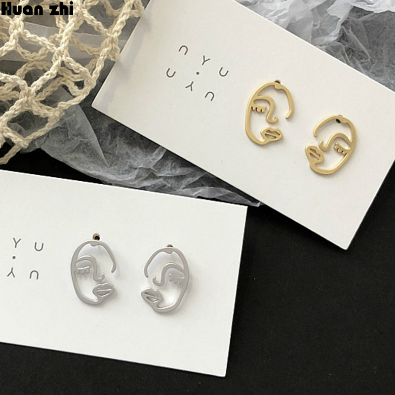 Us 2 45 15 Off Huanzhi Simple S925 Sterling Silver Pin Metal Gold Hollow Face Irregular Abstract Art Human Body Stud Earrings For Women In Stud