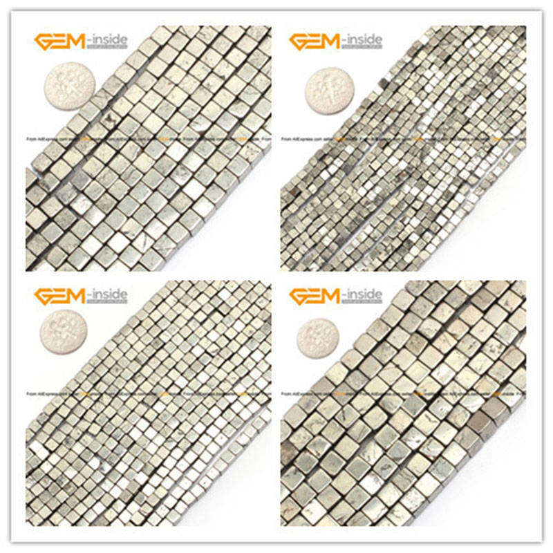 Gem-inside 3-10mm Natural Stone Beads Gray Pyrite Loose Cube Silver Beads For Jewelry Making Beads 15'' DIY Beads Jewellery