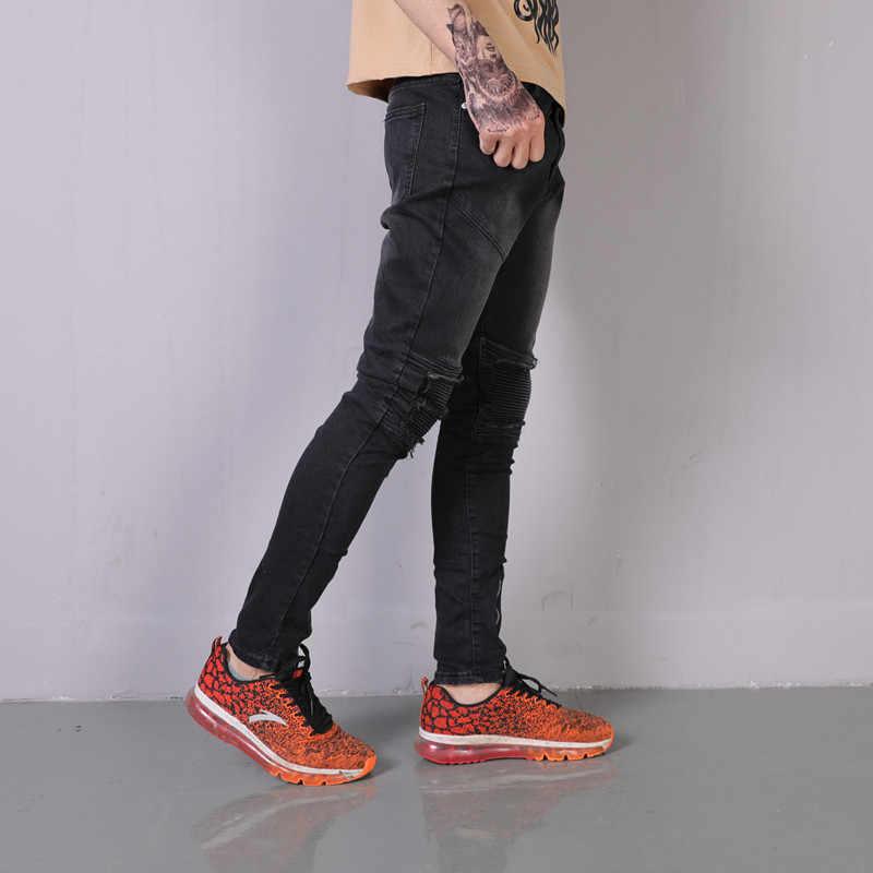 Мужские Винтажные рваные джинсовые брюки до колена плиссированные мужские узкие подол молния хип-хоп высокие уличные мотоциклетные повседневные байкерские джинсы