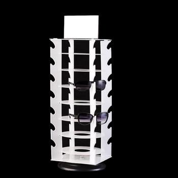 Mordoa Wholesale Rotating White Plastic Sunglass Display Stand Holder Glasses Rack Jewelry Display Shelf