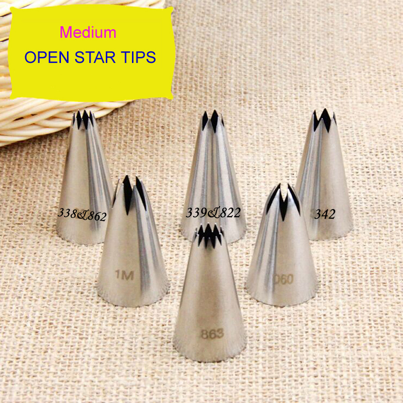 Buy Medium Open Star Tips Stainless Steel Icing Piping Nozzles Cake Decorating Pastry Tip Sets Cupcake Tools Bakeware for $1.39 in AliExpress store