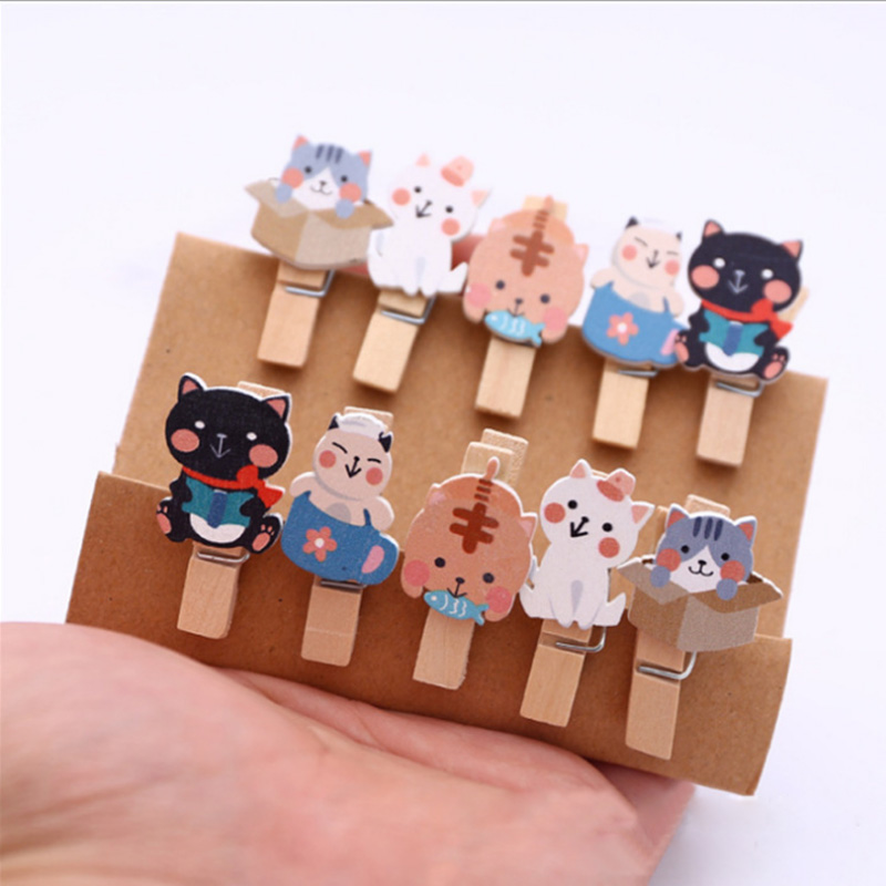 10Pcs/lots  cartoon cat Wooden Clip Photo Paper Postcard Craft DIY decoration Clips Office Binding Supplies Stationery