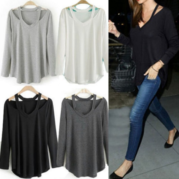 Hot Women Cotton Soft Long Sleeve V Neck Loose Solid