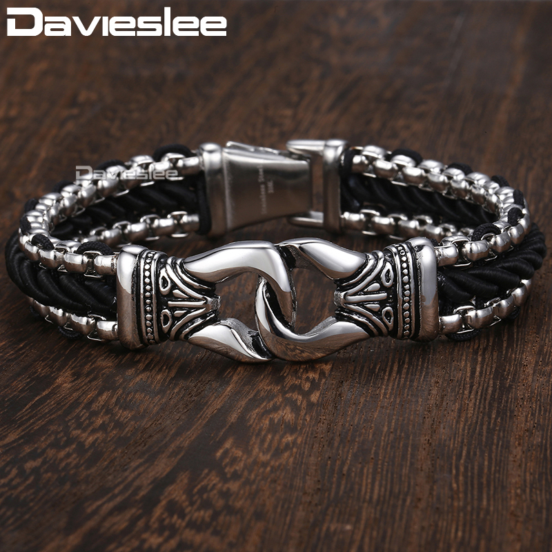 Davieslee Fashion Mens Man-made Leather Bracelet Stainless Steel Box Link Knot Charm Wristband 13mm DHB496 davieslee fashion mens man made leather bracelet stainless steel box link knot charm wristband 13mm dhb496