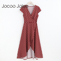 Jocoo Jolee V Collar Polka Dot Sexy Women Dress Short Sleeve Loose Knee Dress Holiday High
