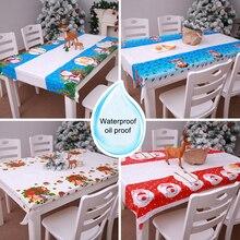 Christmas Decoration Hotel Table Waterproof PVC Plastic Tablecloth Restaurant Rectangular Disposable