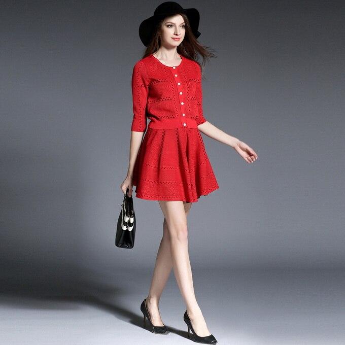 Tricoté Pull Chandail Automne Femmes Printemps Tricoter Haute Qualité Jacquard 2017 Set À New blue Évider Red Pcs Mini Jupe Brand 2 X6qXYwSZ